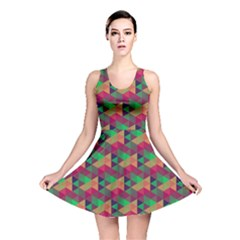 Hexagon Cube Bee Cell Pink Pattern Reversible Skater Dress by Cveti