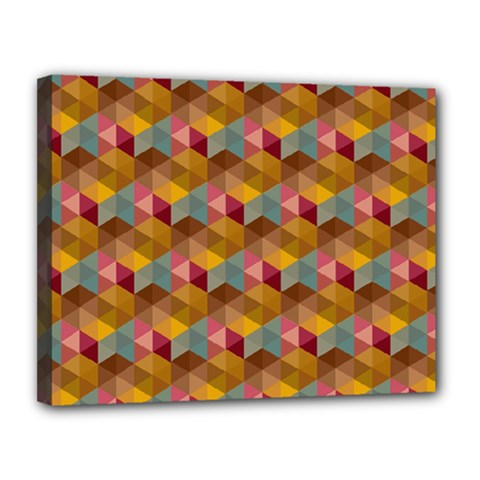 Hexagon Cube Bee Cell 2 Pattern Canvas 14  X 11  by Cveti