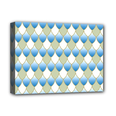 Squama Fish Blue Pattern Deluxe Canvas 16  X 12   by Cveti