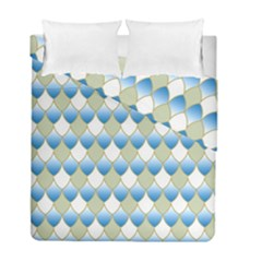 Squama Fish Blue Pattern Duvet Cover Double Side (full/ Double Size) by Cveti