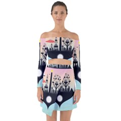 Future City Off Shoulder Top With Skirt Set