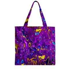 Melted Fractal 1a Zipper Grocery Tote Bag by MoreColorsinLife