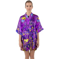 Melted Fractal 1a Quarter Sleeve Kimono Robe by MoreColorsinLife