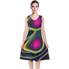 Vibrant Fantasy 5 V Neck Midi Sleeveless Dress