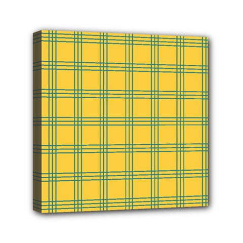 Green Stripes Mini Canvas 6  X 6  by berwies