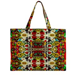 Chicken Monkeys Smile In The Floral Nature Looking Hot Zipper Medium Tote Bag by pepitasart