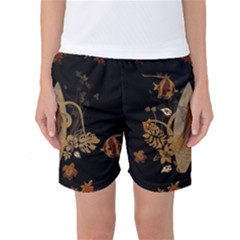 Hawaiian, Tropical Design With Surfboard Women s Basketball Shorts by FantasyWorld7
