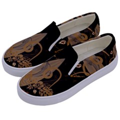 Hawaiian, Tropical Design With Surfboard Kids  Canvas Slip Ons by FantasyWorld7