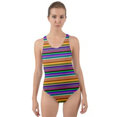 Pattern Cut Out Back One Piece Swimsuit by gasi