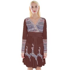 Holmes Christmas Jumper In Gingerbread Oh Deer Long Sleeve Front Wrap Dress