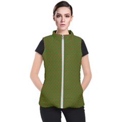 Large Red Christmas Hearts On Green Women s Puffer Vest