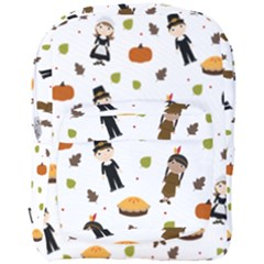 Pilgrims And Indians Pattern   Thanksgiving Full Print Backpack by Valentinaart