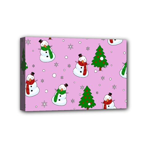 Snowman Pattern Mini Canvas 6  X 4  by Valentinaart
