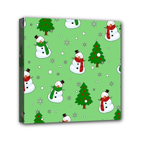 Snowman Pattern Mini Canvas 6  X 6  by Valentinaart