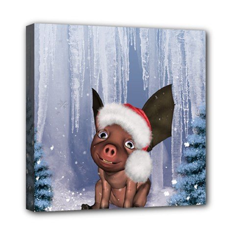 Christmas, Cute Little Piglet With Christmas Hat Mini Canvas 8  X 8  by FantasyWorld7