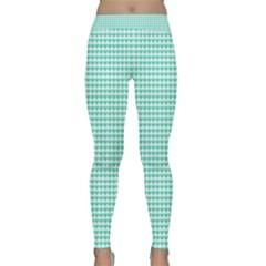 Tiffany Aqua Blue Candy Hearts On White Classic Yoga Leggings by PodArtist
