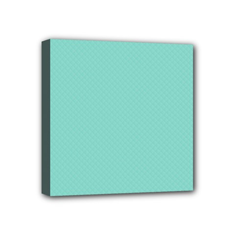 Tiffany Aqua Blue Puffy Quilted Pattern Mini Canvas 4  X 4  by PodArtist