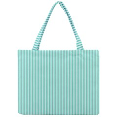 Classy Tiffany Aqua Blue Sailor Stripes Mini Tote Bag by PodArtist