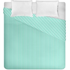Classy Tiffany Aqua Blue Sailor Stripes Duvet Cover Double Side (king Size) by PodArtist