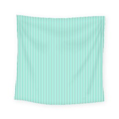 Classy Tiffany Aqua Blue Sailor Stripes Square Tapestry (small) by PodArtist