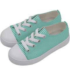 Classy Tiffany Aqua Blue Sailor Stripes Kids  Low Top Canvas Sneakers by PodArtist