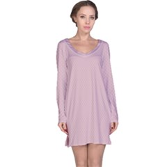 Baby Pink Stitched And Quilted Pattern Long Sleeve Nightdress by PodArtist