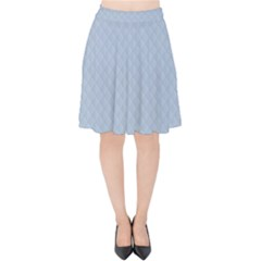 Powder Blue Stitched And Quilted Pattern Velvet High Waist Skirt by PodArtist