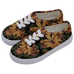 Beautiful Filigree Oxidized Copper Fractal Orchid Kids  Classic Low Top Sneakers by beautifulfractals