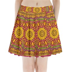 Sunshine Mandala And Other Golden Planets Pleated Mini Skirt by pepitasart