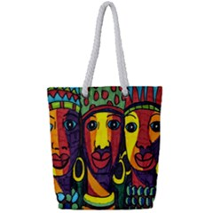 Ethnic Bold Bright Artistic Paper Full Print Rope Handle Bag (small)