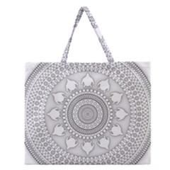 Mandala Ethnic Pattern Zipper Large Tote Bag