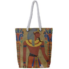 Egyptian Tutunkhamun Pharaoh Design Full Print Rope Handle Bag (small)