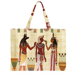 Egyptian Design Man Woman Priest Zipper Large Tote Bag by Celenk