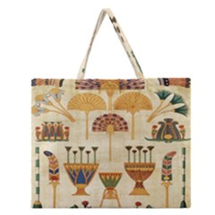 Egyptian Paper Papyrus Hieroglyphs Zipper Large Tote Bag by Celenk