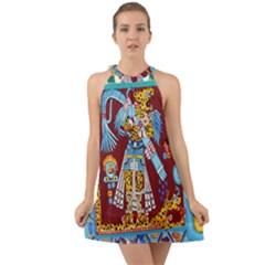 Mexico Puebla Mural Ethnic Aztec Halter Tie Back Chiffon Dress