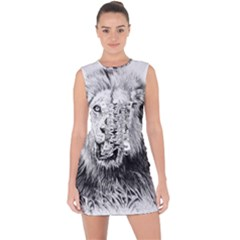 Lion Wildlife Art And Illustration Pencil Lace Up Front Bodycon Dress