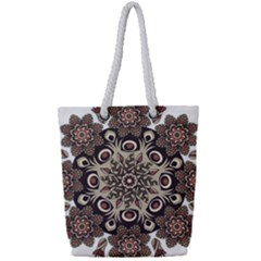 Mandala Pattern Round Brown Floral Full Print Rope Handle Bag (small)