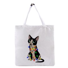 Meowy Christmas Grocery Tote Bag by Valentinaart