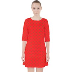 Small Christmas Green Polka Dots On Red Pocket Dress by PodArtist