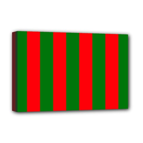 Wide Red And Green Christmas Cabana Stripes Deluxe Canvas 18  X 12   by PodArtist