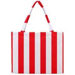 Wide Red And White Christmas Cabana Stripes Mini Tote Bag by PodArtist