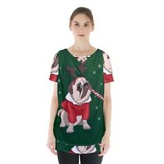 Pug Xmas Skirt Hem Sports Top by Valentinaart