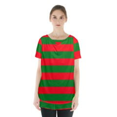 Red And Green Christmas Cabana Stripes Skirt Hem Sports Top by PodArtist