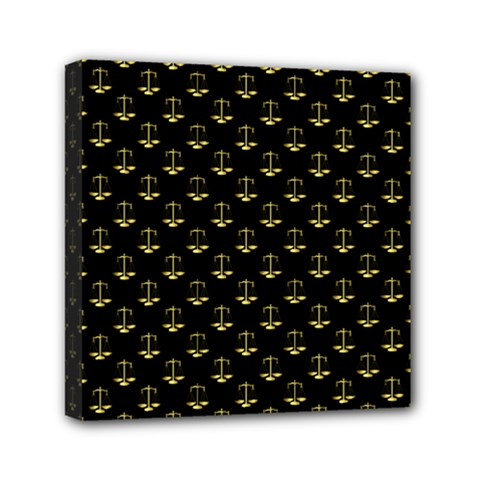 Gold Scales Of Justice On Black Repeat Pattern All Over Print  Mini Canvas 6  X 6  by PodArtist