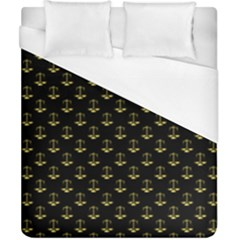 Gold Scales Of Justice On Black Repeat Pattern All Over Print  Duvet Cover (california King Size) by PodArtist