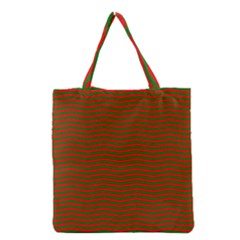 Christmas Red And Green Chevron Zig Zag Stripes Grocery Tote Bag by PodArtist