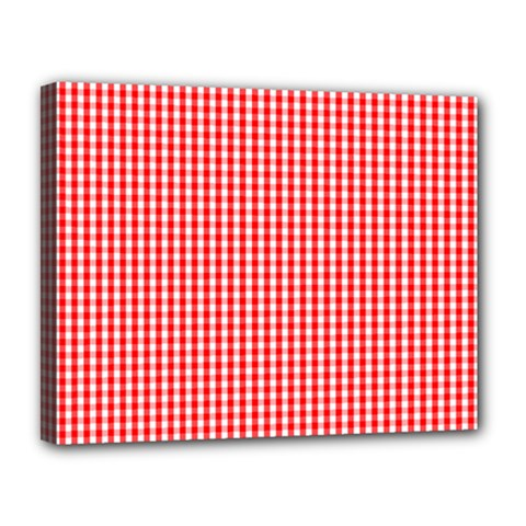 Small Snow White And Christmas Red Gingham Check Plaid Canvas 14  X 11  by PodArtist