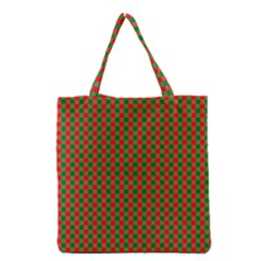 Large Red And Green Christmas Gingham Check Tartan Plaid Grocery Tote Bag by PodArtist
