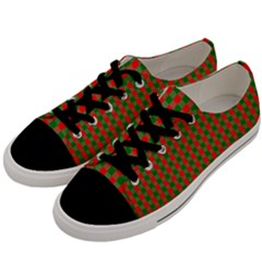 Large Red And Green Christmas Gingham Check Tartan Plaid Men s Low Top Canvas Sneakers by PodArtist