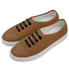 Large Red And Green Christmas Gingham Check Tartan Plaid Women s Classic Low Top Sneakers by PodArtist